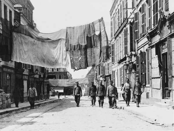 A street camouflaged against hostile aircraft on the Western Front during World War I