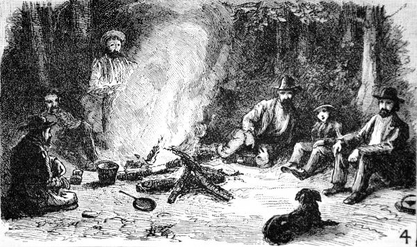 Engraving of tourists and hunters sitting around a log fire, Yellowstone National Park, 1883