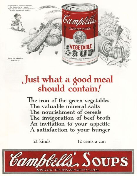Campbell's vegetable soup Date: 1924
