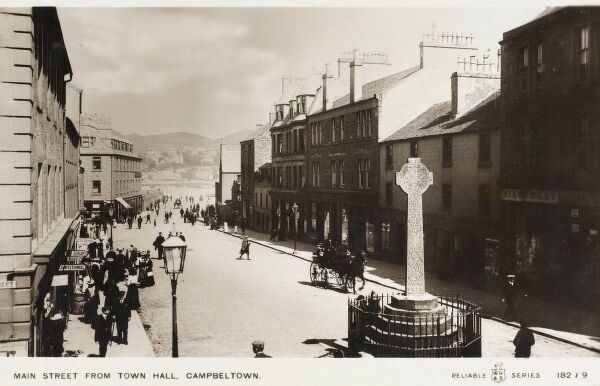 Campbeltown, Scotland - Main Street viewed from the Town Hall, showing the town cross, protected by a ring of black railings