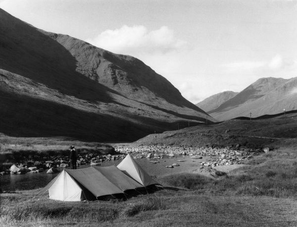 Camping beside the River Etive, in Glen Etive, Argyllshire, Scotland