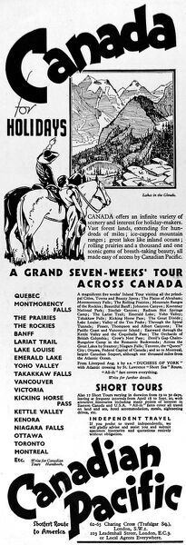 Canadian Pacific advertising Canada as a holiday destination in 1935