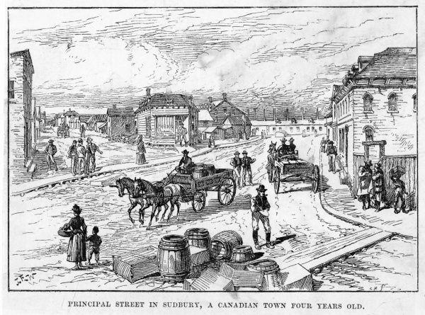 'Principal Street of Sudbury, Ontario, a Canadian town four years old&#39