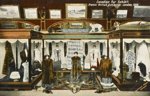 Canadian Fur Exhibit by Holt, Renfrew and Co, Ltd. of Toronto (est. 1837) at the Franco-British Exhibition, London 1908