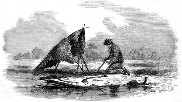 Engraving showing a French Canadian 'voyageur' (guide) making a canoe on a framework of cedar covered with sheets of birch bark. Canoes varied in length from 15-40 feet in length, and although very light could carry several tons in weight