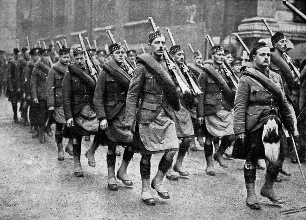 Canadian Highlanders marching through London at the Lord Mayors Show in 1915