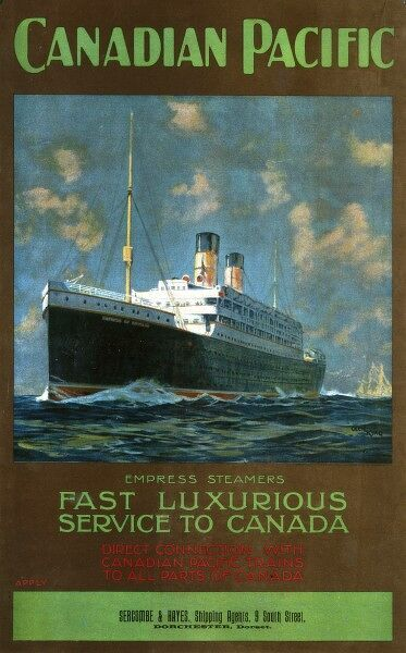 Poster for the Canadian Pacific Line shipping company promoting its fast, luxurious service from Britain to Canada on its Empress steamers