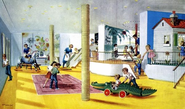 Colour illustration depicting the tourist class playroom for young travellers on board P&O's superliner 'Canberra' around the time of her maiden voyage to Sydney, Australia in 1961