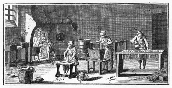 The processes of candle-making in 18th century France