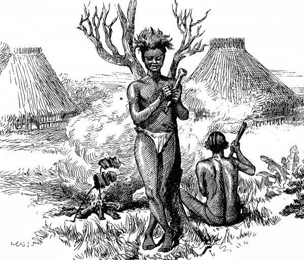 Engraving showing two cannibals cooking their next meal, in their village near Nassibu's Camp on the Aruwimi River, Central Africa, 1888. This image was sketched by H. Ward, a member of the Emin Pasha Relief Expedition of 1887-1888 led by H