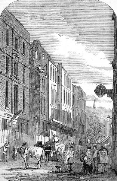 Engraving showing Cannon Street, London, during the 1852 improvements to the thoroughfare