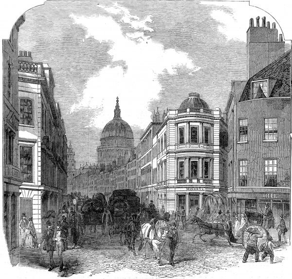 Engraving showing Cannon Street West and the dome of St. Pauls Cathedral, London, 1854