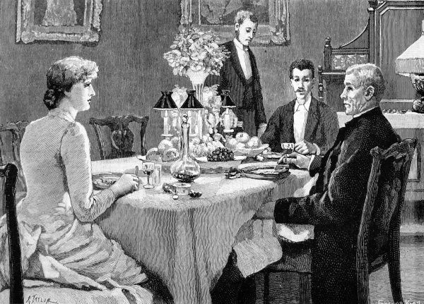 Illustration to accompany a story James Payn, showing a late-Victorian family seated around the dinner table