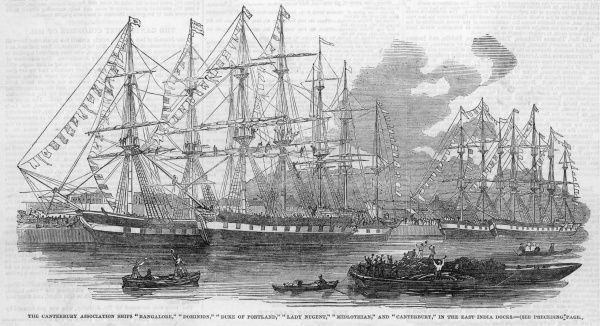 The Canterbury Association ships 'Bangalore', 'Dominion', 'Duke of Portland', 'Lady Nugent', 'Midlothian' and 'Canterbury' in the East India Docks, London