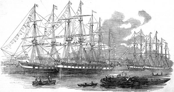 Engraving showing the Canterbury Association Ships, 'Bangalore', 'Dominion', 'Duke of Portland', 'Lady Nugent', 'Midlothian' and 'Canterbury', in the East India Docks, London, 1851