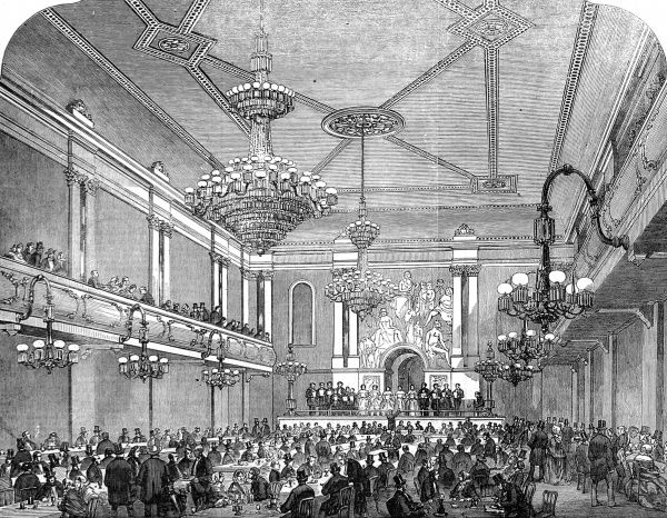 Engraving showing the interior of Canterbury Hall, Lambeth Upper Marsh, London, 1856. Samuel Field was the architect of this entertainment establishment