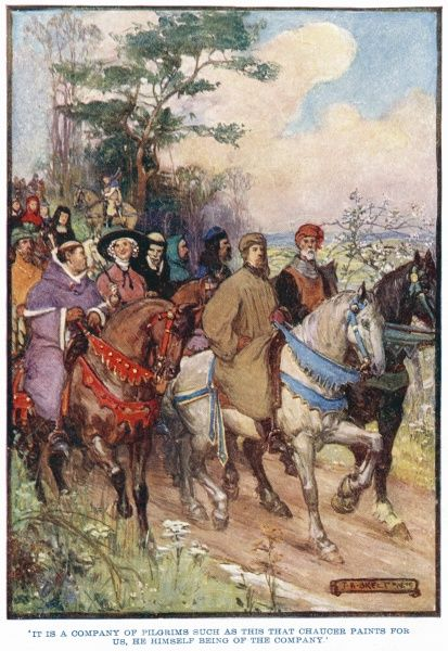 Chaucer's company of pilgrims on the road from Southwark to Canterbury, with Chaucer himself at the front of the group