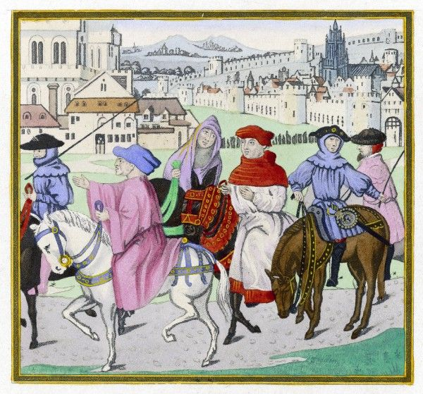 The pilgrims who narrated Chaucer's 'Canterbury Tales', a cross-section of the population, depicted in clothing suitable for an excursion in April