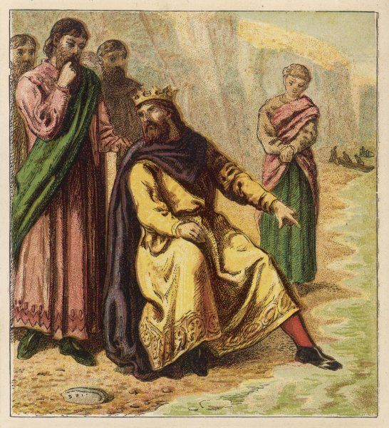 Canute demonstrates that the flattery of his courtiers is foolish, by showing them that he cannot turn back the sea as they had suggested