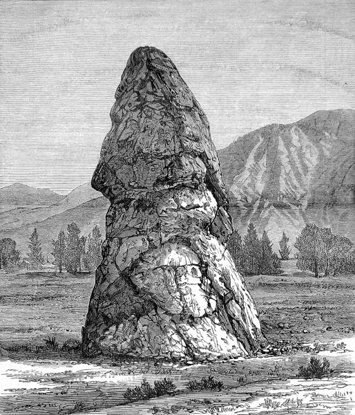 Engraving showing the cone of lime, 42 feet high and 22 feet in diameter, known as 'The Cap of Liberty, Yellowstone National Park, 1874. The cone was formed by the successive deposits of boiling water of a now extinct geyser
