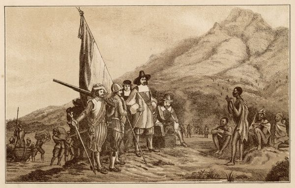 Jan van Riebeeck, on behalf of the Dutch East India company, lands at the Cape of Good Hope where he will found Cape Town and govern it for ten years