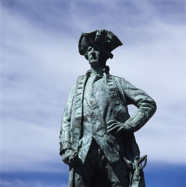 Detail of the Monument to Captain James Cook at Gisborne, on the east coast of the North Island, New Zealand