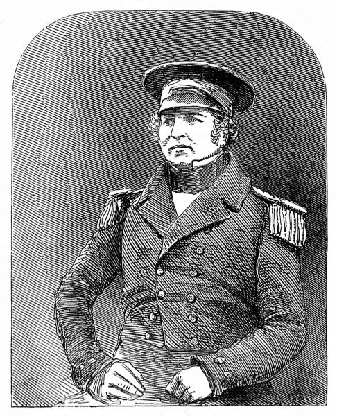 Engraving of Captain Francis Crozier (1796-1848) of HMS 'Terror', pictured shortly before departing on the ill-fated Franklin Arctic expedition of 1845. In 1845 the British Admiralty sent two polar exploration ships, HMS 'Erebus&#39