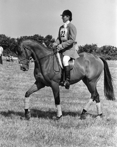Captain Mark Phillips, first husband of HRH Princess Anne competing in a dressage event