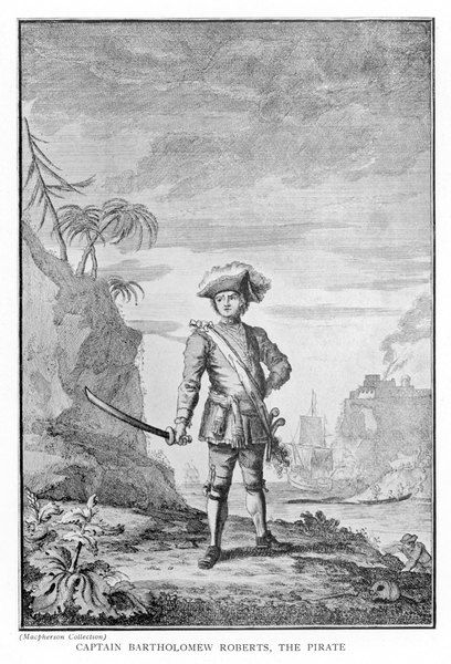 BARTHOLOMEW ROBERTS Captain Roberts, the pirate with sword in hand and tricorn hat
