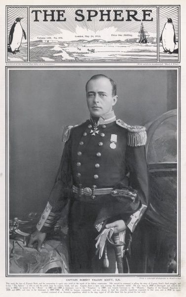 Portrait of Captain Robert Falcon Scott (1868 - 1912), British polar explorer on an inner cover of The Sphere special memorial number