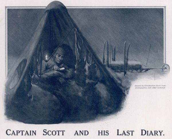 Artist's impression of Captain Scott writing in his diary in his tent during his expedition to the South Pole in which he and his four companions perished
