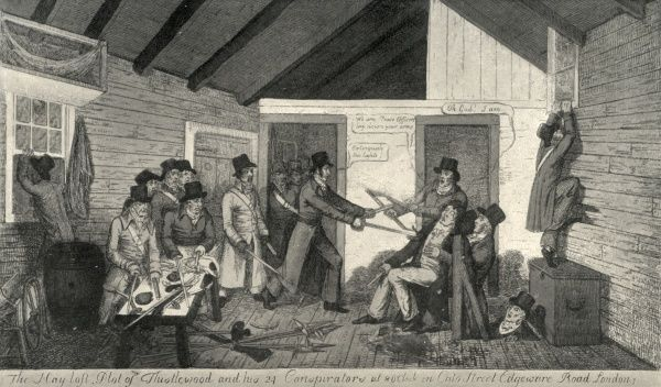 The capture of Cato Street conspirators in their hayloft hideout as depicted by George Cruikshank in 1820