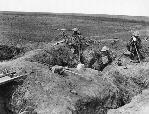 Capture of Chipilly Ridge by the 58th (London) Division, Royal Field Artillery Signallers with heliograph etc. in a German trench captured on the previous day on the Western Front in France during World War I on 9th August 1918