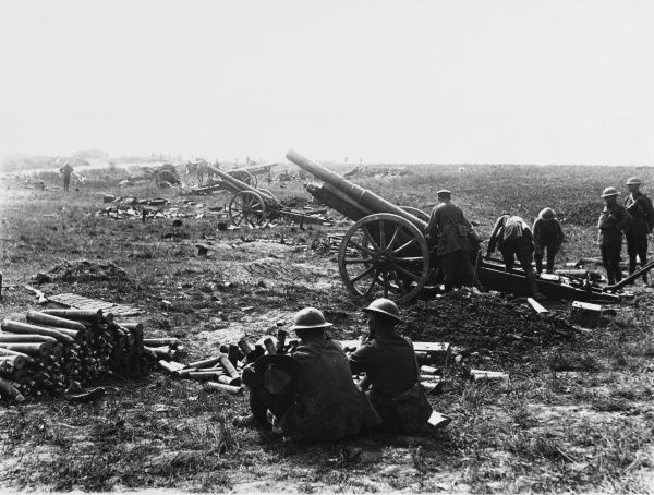 Soldiers of the New Zealand Division firing a captured 4.2 gun battery capture Grevillers on the Western Front in France during World War I in August 1918