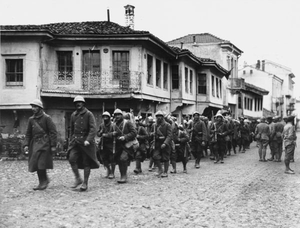 French troops marching through Monastir after its capture on the French front during World War I in November 1916