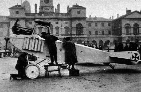A captured German aeroplane on view on the Horse Guards Parade in London