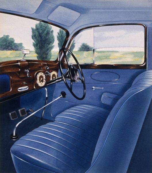 Illustration of the interior of a car with blue leather seats, a shiny wooden dashboard and a very long gear stick