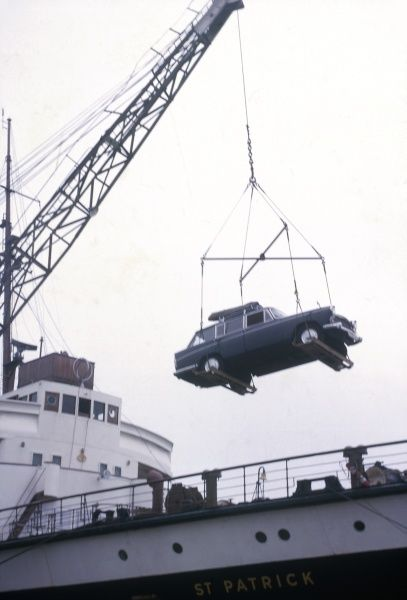 A car being loaded onto a ferry named the St Patrick