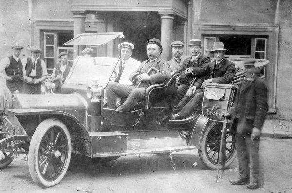 Mr Ernie Holt driving a party of cattle dealers from the Castle Hotel in Haverfordwest, Pembrokeshire, South Wales