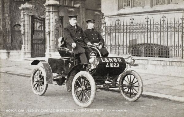London & North Western Railway Company Cartage Inspector in his motor car. This is the 1023rd car registered in the UK!