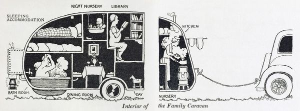 Interior of the family caravan, including a library, a dining room and day nursery. Please note: Credit must appear as (c) Courtesy of the estate of Mrs J.C.Robinson/Pollinger Ltd/Mary Evans Picture Library