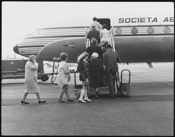 Passengers boarding a Caravelle Jet, run by Air France for short-haul flights, Gatwick Airport, Surrey, England