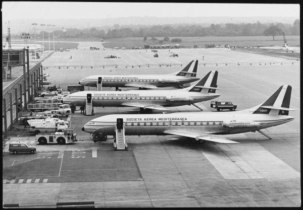 Three Societa Aerea Mediterranea Caravelle Jets being refuelled at London Gatwick Airport