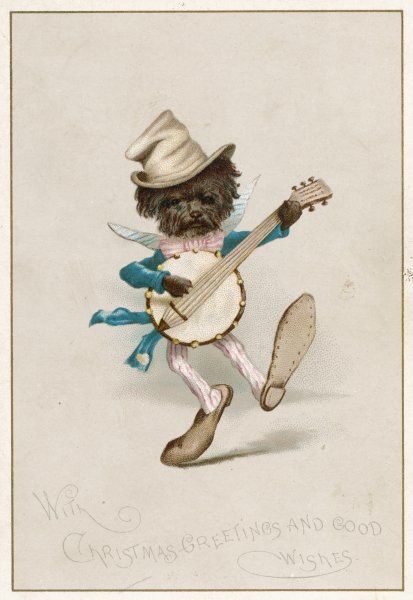 A doggy minstrel plays a banjo