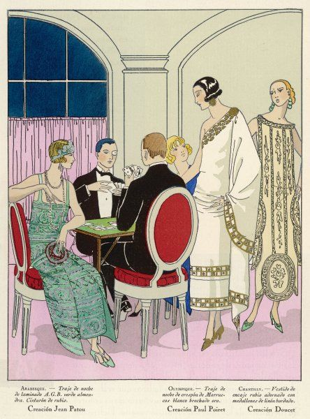 Players and spectators wear elegant creations by Jean Patou, Paul Poiret and Doucet