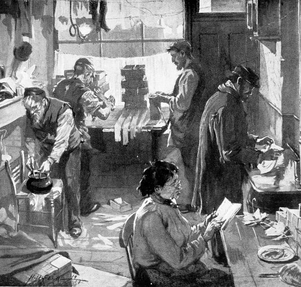 Illustration showing a group of immigrants stirring glue and cutting cardboard to make boxes in a 'factory' in the Commercial Road, London, 1904