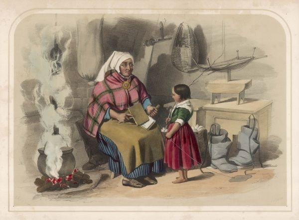 CARDING WOOL - A countrywoman shows her daughter - or maybe grand-daughter - how to comb and disentangle wool with a wool-card