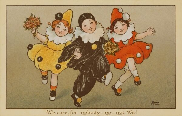 Delightful postcard featuring three dancing children dressed in clown and Pierrot costumes