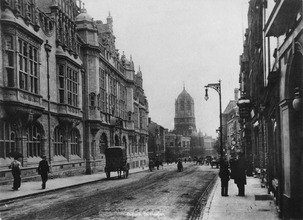 The Carfax, Oxford, considered to be the centre of the city, with Christchurch in the distance. Date: 1890s