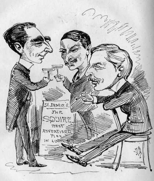 Caricature of A W Pinero, John Hare and W H Kendal